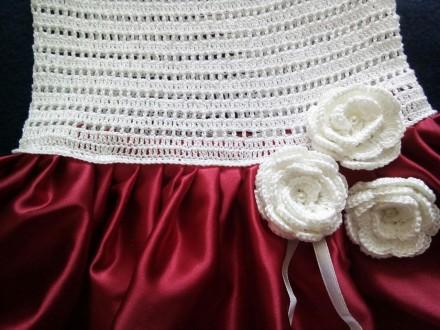 Продам красивое нарядное платье ручной работы. Комбинированное платье - вязанный. Днепр, Днепропетровская область. фото 6