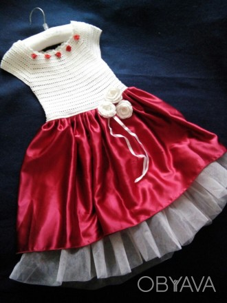 Продам красивое нарядное платье ручной работы. Комбинированное платье - вязанный. Днепр, Днепропетровская область. фото 1