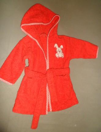 Продам детский красный махровый халат на 1-3 года 100 % хлопок. Полтава. фото 1