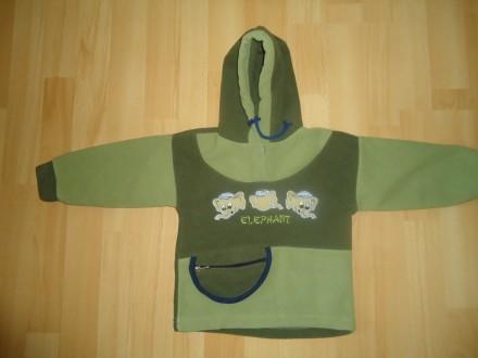 Теплая кофта свитер с капюшоном толстовка флиска р.68-74. Яворов. фото 1
