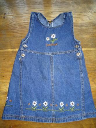 Красивый джинсовый сарафан на рост 92-98. Яворов. фото 1