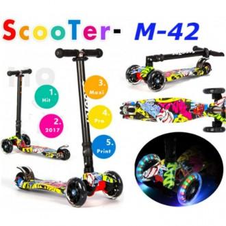Самокат M-42 print maxi scooter трехколесный. Киев. фото 1