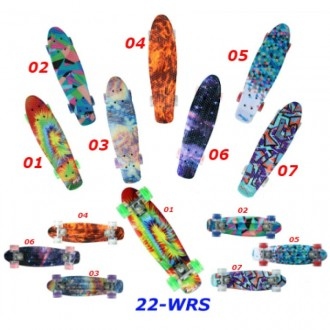 Скейт Penny Print 22-WRS светящиеся колеса пенни 56 см cruiser fish skate board. Киев. фото 1