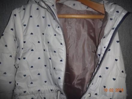 ОБАЛДЕННАЯ Куртка ветровка   для наших принцесс на 7-12 лет белая с сердечками. . Бахмут (Артемовск), Донецкая область. фото 4