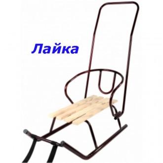 Санки детские со спинкой и толкателем Лайка. Киев. фото 1