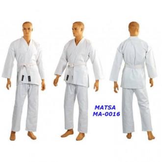 Кимоно для карате белое MATSA МА-0016 130-190см плотность 240г на м2. Киев. фото 1