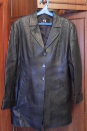 Продам женскую кожаную куртку френч р.50 черного цвета Турция. Киев. фото 1