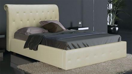 Мягкая кровать Фрида 160х200 и подъемным механизмом двуспальная с ламелями. Киев. фото 1