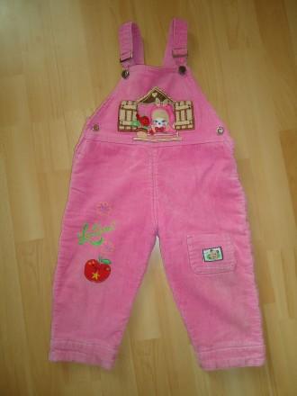 Теплый вельветовый напівкомбинезон штаны на флисе 1-2 года рост 80-92. Яворов. фото 1