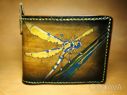 Кожаный кошелек Стрекоза