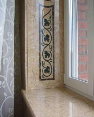 Оконные и дверные проемы декорированные гранитом мрамором травертином. Днепр. фото 1