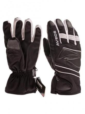 Распродажа! Горнолыжные перчатки Avecs с мембраной Чёрно-белые 55e3c3e3cbe9f