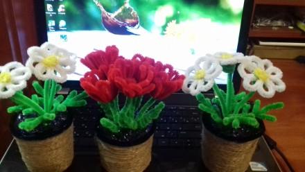 Ромашки из синельной проволоки!Нежные, белоснежные цветочки сделаны руками, выгл. Черкассы, Черкасская область. фото 4