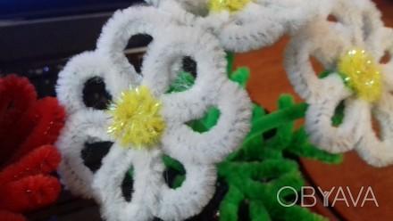 Ромашки из синельной проволоки!Нежные, белоснежные цветочки сделаны руками, выгл. Черкассы, Черкасская область. фото 1