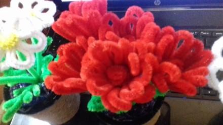 Декоративный вазончик с тюльпанами, вазон из 5 тюльпанчиков.  Цветы изготовлены . Черкассы, Черкасская область. фото 3