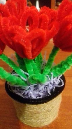 Декоративный вазончик с тюльпанами, вазон из 5 тюльпанчиков.  Цветы изготовлены . Черкассы, Черкасская область. фото 2