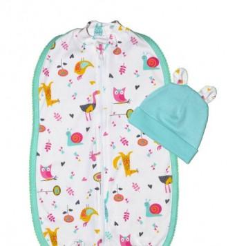 Кокон на молнии с шапочкой интерлок для новорожденных 0-3 месяца. Днепр. фото 1