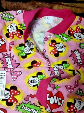 Тёплая пижама для девочки на 2 кнопках с Минни Маусом. Київ. фото 1