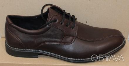 02dfedc30 Мужские кожаные туфли коричневые на шнурках классика модель АМТ35КШкор