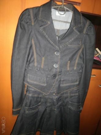 Продам костюм джинсовый сарафан+пиджак р138. Харьков. фото 1