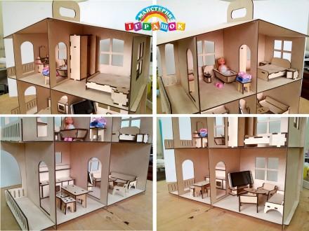 Разборной кукольный домик с мебелью из натурального материала – фанеры.  Уникал. Одесса, Одесская область. фото 12