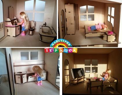 Разборной кукольный домик с мебелью из натурального материала – фанеры.  Уникал. Одесса, Одесская область. фото 11
