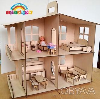 Разборной кукольный домик с мебелью из натурального материала – фанеры.  Уникал. Одесса, Одесская область. фото 1