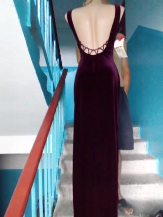 Продам элегантное вечернее платье. Стрейч-велюр.. Цвет гнилая вишня.По бокам раз. Одесса, Одесская область. фото 3