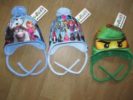 Флисовые шапочки на завязках для девочек и мальчиков. Сумы. фото 1