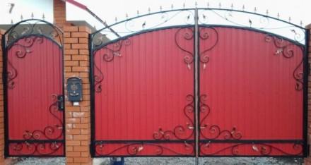 Ворота с калиткой,с профнастила,с ковкой. Кривой Рог. фото 1