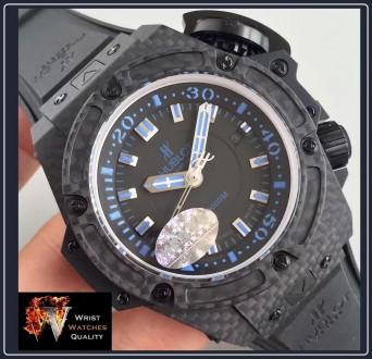 """HUBLOT - BIG BANG King Power Oceanographic 4000"""" All Black Blue Carbon Fibre 48m. Киев, Киевская область. фото 10"""