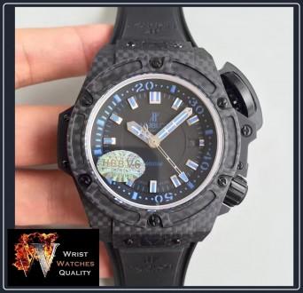 """HUBLOT - BIG BANG King Power Oceanographic 4000"""" All Black Blue Carbon Fibre 48m. Киев, Киевская область. фото 3"""