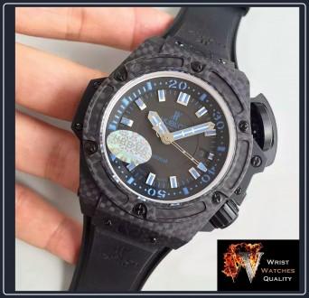 """HUBLOT - BIG BANG King Power Oceanographic 4000"""" All Black Blue Carbon Fibre 48m. Киев, Киевская область. фото 5"""