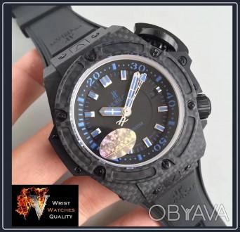 """HUBLOT - BIG BANG King Power Oceanographic 4000"""" All Black Blue Carbon Fibre 48m. Киев, Киевская область. фото 1"""