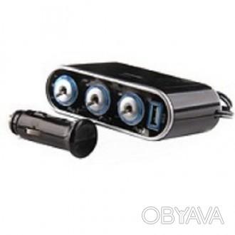 В наличии.   Тройная розетка with12 V/24 V   USB зарядное устройство подходящ. Нежин, Черниговская область. фото 1
