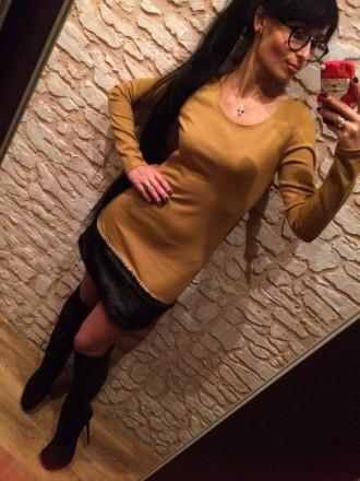 Стильное платье Красивого горчичного цвета Оригинальный низ, мех,,отличная ими. Полтава, Полтавская область. фото 2