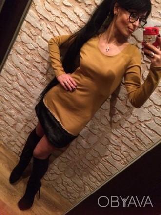 Стильное платье Красивого горчичного цвета Оригинальный низ, мех,,отличная ими. Полтава, Полтавская область. фото 1