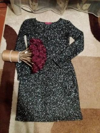 Красивое платье. Ткань вязанный трикотаж с люрексом. Размер указан L,маломерит. Полтава, Полтавская область. фото 3