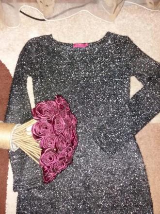 Красивое платье. Ткань вязанный трикотаж с люрексом. Размер указан L,маломерит. Полтава, Полтавская область. фото 4