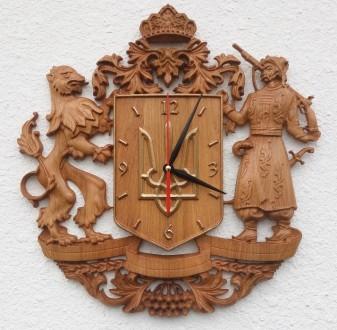 Часы резные, дерево дуб. Коломия. фото 1
