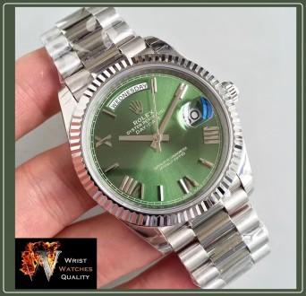 ROLEX - Datejust Day-Date Olive Green Roman White Gold Automatic d5c85e13df1ca