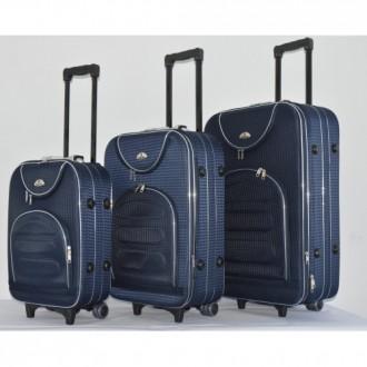 Текстильный чемодан сумка дорожный Bonro набор 3 штуки Цвет: темно-синий клетка. Киев, Киевская область. фото 4