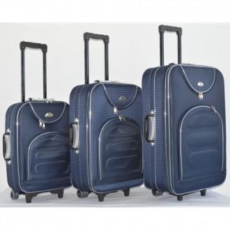 Текстильный чемодан сумка дорожный Bonro набор 3 штуки Цвет: темно-синий клетка. Київ, Киевская область. фото 5