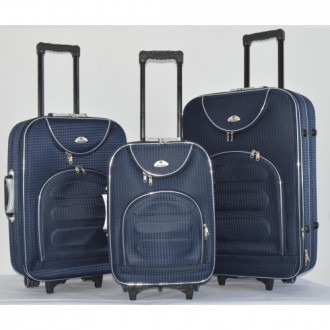 Текстильный чемодан сумка дорожный Bonro набор 3 штуки Цвет: темно-синий клетка. Київ, Киевская область. фото 2
