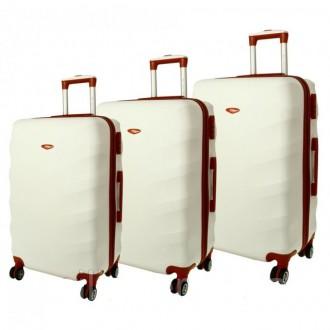 Дорожный чемодан сумка Exclusive набор 3 штуки снежный. Киев. фото 1
