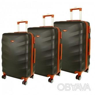 Дорожный чемодан сумка Exclusive набор 3 штуки графит  Комплект Exclusive 6881. Киев, Киевская область. фото 1