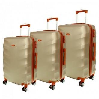 Дорожный чемодан сумка Exclusive набор 3 штуки шампан. Киев. фото 1