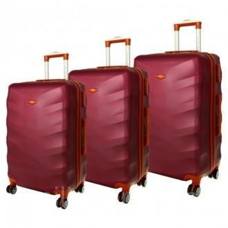 Дорожный чемодан сумка Exclusive набор 3 штуки вишневый. Киев. фото 1