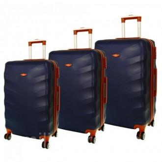 Дорожный чемодан сумка Exclusive набор 3 штуки темно-синий. Киев. фото 1