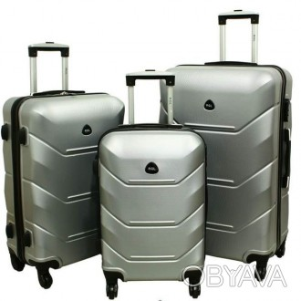 Дорожный Чемодан сумка Carbon 720 набор 3 штуки серебряный  Чемодан Carbon 720. Киев, Киевская область. фото 1